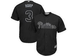 Mens Mlb Philadephia Phillies #3 Harp (bryce Harper) Black 2019 Players Weekend Cool Base Jersey