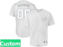 Mens Mlb Chicago Cubs White 2019 Players Weekend Custom Made Flex Base Jersey