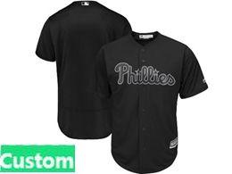 Mens Mlb Philadephia Phillies Black 2019 Players Weekend Custom Made Flex Base Jersey