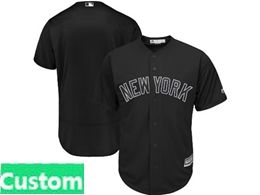 Mens Mlb New York Yankees Black 2019 Players Weekend Custom Made Flex Base Jersey