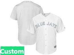Mens Mlb Toronto Blue Jays White 2019 Players Weekend Custom Made Flex Base Jersey