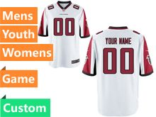 Mens Women Youth Nfl Atlanta Falcons White Game Custom Made Jersey