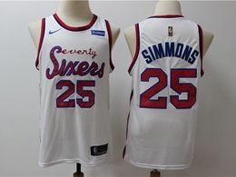 Mens Nba Philadelphia 76ers #25 Ben Simmons White New Mitchell&ness Nike Swingman Jersey