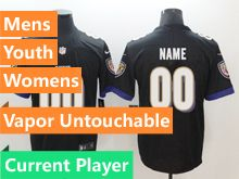 Mens Women Youth Nfl Baltimore Ravens Black Vapor Untouchable Limited Current Player Jersey