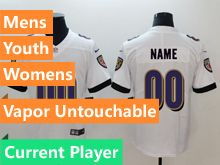 Mens Women Youth Nfl Baltimore Ravens White Vapor Untouchable Limited Current Player Jersey