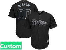 Mens Mlb Philadephia Phillies Black 2019 Players Weekend Custom Made Cool Base Jersey