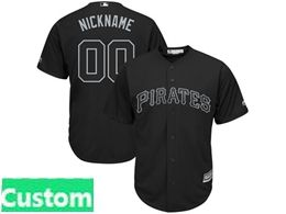 Mens Mlb Pittsburgh Pirates Black 2019 Players Weekend Custom Made Cool Base Jersey
