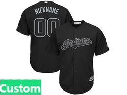 Mens Mlb Cleveland Indians Black 2019 Players Weekend Custom Made Cool Base Jersey