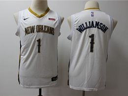 Youth New Orleans Hornets #1 Williamson White Cool Base Jersey