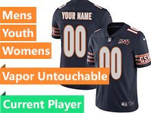 Mens Women Youth Nfl Chicago Bears Blue 100th Season Nike Vapor Untouchable Limited Current Player Jersey