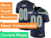 Mens Women Youth Nfl Seattle Seahawks Blue Vapor Untouchable Limited Current Player Jersey