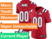 Mens Women Youth Nfl New England Patriots Red Vapor Untouchable Limited Current Player Jersey