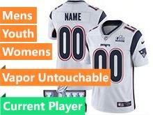 Mens Women Youth New England Patriots White 2019 Super Bowl Lii Bound Vapor Untouchable Limited Current Player Jersey