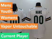 Mens Women Youth Nfl Green Bay Packers White Current Player Vapor Untouchable Limited Jersey