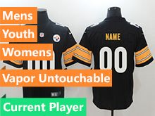 Mens Women Youth Nfl Pittsburgh Steelers Black Vapor Untouchable Limited Current Player Jersey