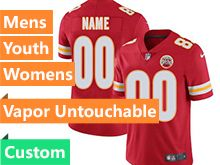 Mens Women Youth Nfl Kansas City Chiefs Custom Made Red Vapor Untouchable Limited Jersey