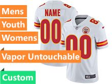 Mens Women Youth Nfl Kansas City Chiefs Custom Made White Vapor Untouchable Limited Jersey