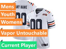 Mens Women Youth Nfl Chicago Bears White 100th Season Nike Vapor Untouchable Limited Current Player Jersey