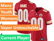 Mens Women Youth Nfl Kansas City Chiefs Red Vapor Untouchable Limited Current Player Jersey