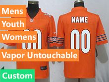 Mens Women Youth Nfl Chicago Bears Orange Custom Made Vapor Untouchable Limited Player Jersey
