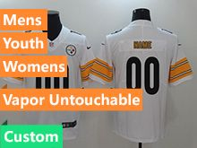 Mens Women Youth Nfl Pittsburgh Steelers White Vapor Untouchable Limited Custom Made Jersey