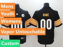 Mens Women Youth Nfl Pittsburgh Steelers Black Vapor Untouchable Limited Custom Made Jersey