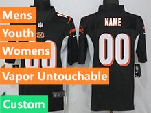 Mens Women Youth Nfl Cincinnati Bengals Black Custom Made Vapor Untouchable Limited Jersey