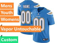 Mens Women Youth Nfl Los Angeles Chargers Light Blue Vapor Untouchable Limited Custom Made Jersey
