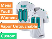 Mens Women Youth Nfl Miami Dolphins White Custom Made Vapor Untouchable Limited Jersey