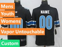 Mens Women Youth Nfl Detroit Lions Black Custom Made Vapor Untouchable Limited Jersey