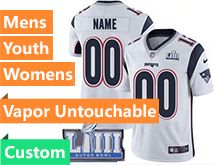 Mens Women Youth Nfl New England Patriots White Custom Made Vapor Untouchable Limited Jersey