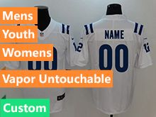 Mens Women Youth Nfl Indianapolis Colts White Custom Made Vapor Untouchable Limited Jersey