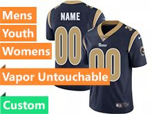 Mens Women Youth Nfl Los Angeles Rams Navy Blue 2019 Super Bowl Liii Bound Custom Made Vapor Untouchable Limited Jersey