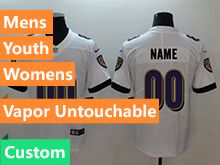 Mens Women Youth Nfl Baltimore Ravens White Custom Made Vapor Untouchable Limited Jersey