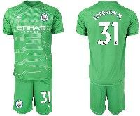 Mens 19-20 Soccer Manchester City Club #31 Ederson Green Goalkeeper Short Sleeve Suit Jersey