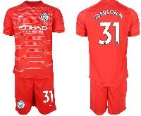 Mens 19-20 Soccer Manchester City Club #31 Ederson Red Goalkeeper Short Sleeve Suit Jersey
