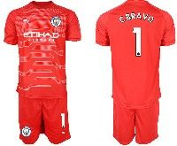 Mens 19-20 Soccer Manchester City Club 1 C.bravo Red Goalkeeper Short Sleeve Suit Jersey