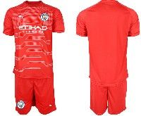Mens 19-20 Soccer Manchester City Club Blank Red Goalkeeper Short Sleeve Suit Jersey