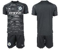 Mens 19-20 Soccer Manchester City Club Blank Black Goalkeeper Short Sleeve Suit Jersey