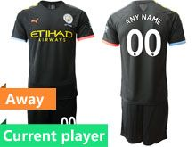 Mens 19-20 Soccer Manchester City Club Current Player Black Away Short Sleeve Suit Jersey