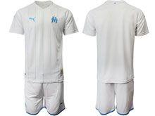 Mens 19-20 Soccer Olympique De Marseille Club ( Custom Made ) White Home Short Sleeve Suit Jersey