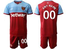 Mens 19-20 Soccer West Ham United Club ( Custom Made ) Maroon Home Short Sleeve Suit Jersey