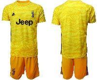 Mens 19-20 Soccer Juventus Club( Blank ) Yellow Goalkeeper Short Sleeve Suit Jersey