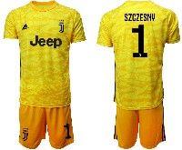 Mens 19-20 Soccer Juventus Club #1 Szczesny Yellow Goalkeeper Short Sleeve Suit Jersey