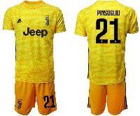 Mens 19-20 Soccer Juventus Club #21 Pinsoglio Yellow Goalkeeper Short Sleeve Suit Jersey