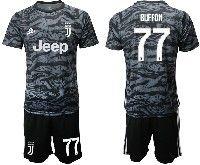 Mens 19-20 Soccer Juventus Club #77 Buffon Black Goalkeeper Short Sleeve Suit Jersey