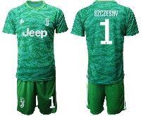 Mens 19-20 Soccer Juventus Club #1 Szczesny Green Goalkeeper Short Sleeve Suit Jersey