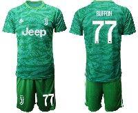 Mens 19-20 Soccer Juventus Club #77 Buffon Yellow Goalkeeper Short Sleeve Suit Jersey