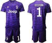 Mens 19-20 Soccer Juventus Club #1 Szczesny Purple Goalkeeper Short Sleeve Suit Jersey