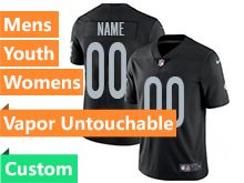 Mens Women Youth Nfl Oakland Raiders Black Custom Made Vapor Untouchable Limited Jersey